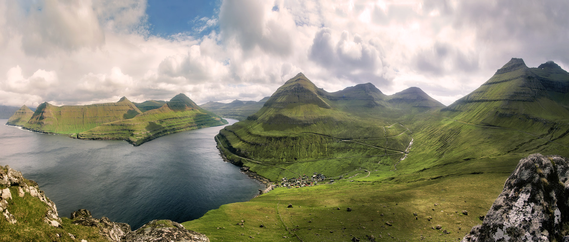 Faroe islands panorama view with the highest mountain